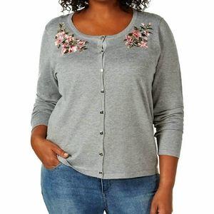 Karen Scott Gray Embroidered Cardigan Sweater 1X